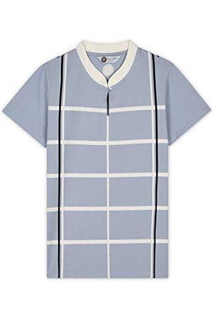 ROLAND GARROS Geruit korte mouwen hemelsblauw merk Mao-Polo dames chic maat XL-RPOW0120-BLC-XL unisex