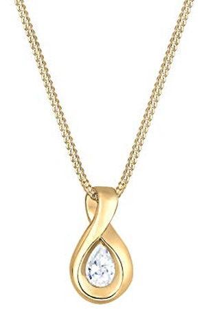 Elli Premium damesketting met hanger Infinity 585 geelgoud zirkonia wit ovaal geslepen 45 cm - 0109612716_45
