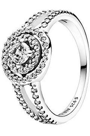 PANDORA Sterling zilveren ring, fonkelende dubbele krans ring met zirkonia stenen, 925 , maat 52, 199408C01-52
