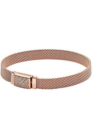 PANDORA Reflexions Pavé-armband met lange sluiting, lengte: 16 cm, 14 karaat rosé vergulde metaallegering, verschillende maten verkrijgbaar, 589358C01-16