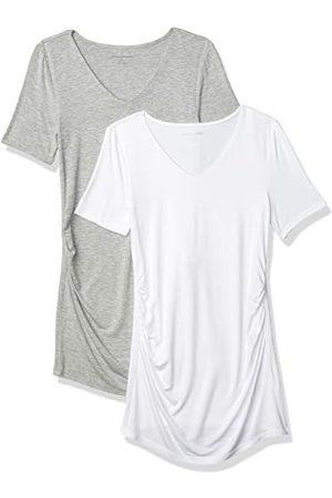 Amazon Vrouwen moederschap 2-Pack korte mouwen Rouched V-hals T-Shirt,Lichtgrijs Heather/ ,XS-S
