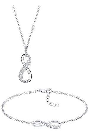 Elli Dames sieradenset halsketting + armband Infinity oneindigheid liefde vriendschap Forever liefdesbewijs zilver 925 zirkonia lengte 45 cm