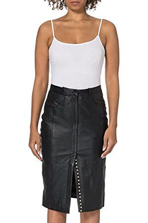 GOOSECRAFT Womens Cezanne Biker Leather Jacket, Black, extra Large