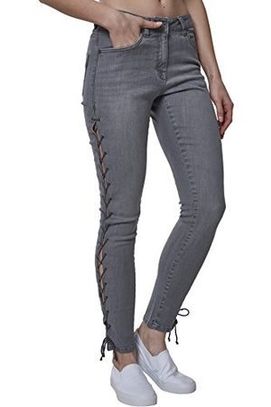 Urban classics Dames Ladies Denim Lace Up Pants Skinny Jeans