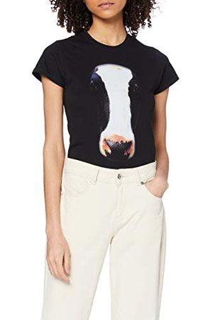 PRINTED WARDROBE Vrouwen grote gezicht dier koe ronde hals korte mouw T-Shirt