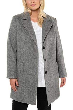 Ulla Popken Dames, wollen look, revers, mantel met lange mouwen.