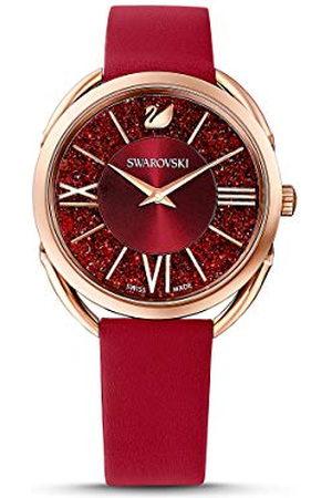 Swarovski Crystalline Glam-horloge, Leren horlogebandje, , Roségoudkleurig PVD