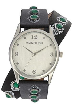Manoush MSHDI02 polshorloge, uniseks, volwassenen, analoog, kwarts, met armband van PU