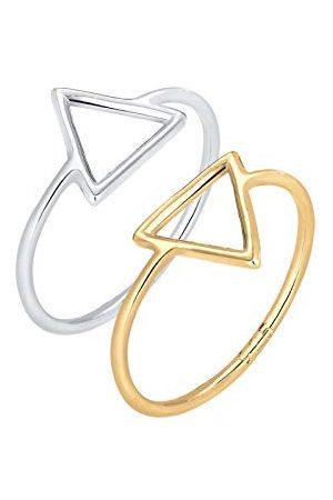 Elli Ringen Set Trend Dreieck Bi-Color Geo 925 Silber