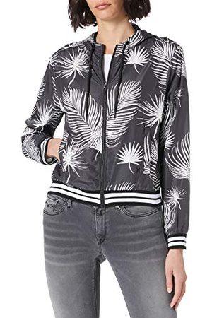 Hurley W Hooded Windbreaker Jacket, Black Palm, L Womens