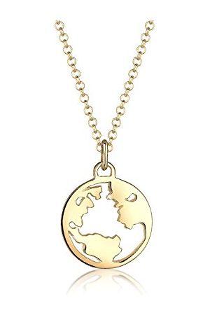 Elli Halsketting wereldbol globe reislust reizen 925 zilver rosegoud