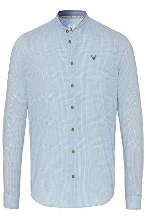 Pure Heren 5014-21690 Klederdrachthemd met lange mouwen, print lichtblauw, XL