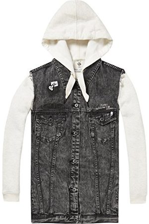 Scotch&Soda Dames AMS Blue Felix The Cat oversized zwarte trucker vest met in jas