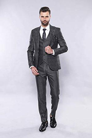 Wessi Pak vest geruit slim pak jurk set, grijs, 46 heren