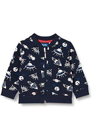 Sanetta Baby-jongens sweatjack Shadow Blue Donkerblauwe jas met een fantastische alloverprint over het thema Inter Galactic