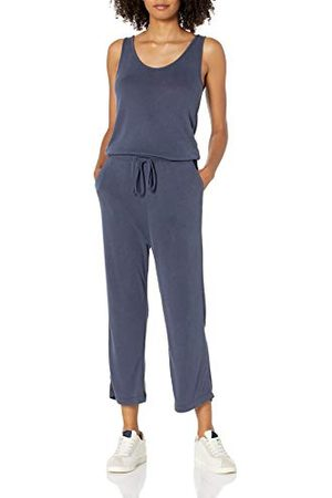 Daily Ritual Sandwashed Modal Blend Mouwloos Brede Pijpen Cropped Jumpsuit, Navy, US (EU XS-S)