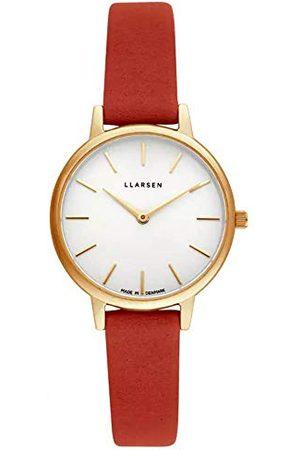 LLARSEN Dames analoog kwarts horloge met lederen armband 146GWG3-GORANGE12