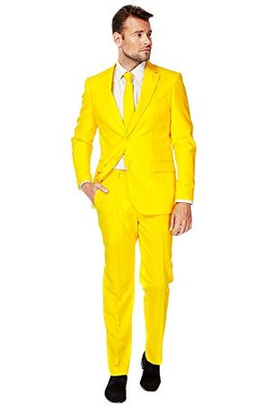 OppoSuits Solid Color Party for Men - Yellow Fellow - Full Fit: Includes Pants, Jacket and Tie kostuum D39 heren - - M (EU 50)