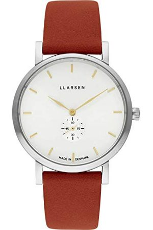 LLARSEN Dames analoog kwarts horloge met lederen armband 144SWG3-SORANGE18