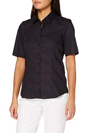 Seidensticker Damesblouse – strijkvrije, licht getailleerde hemdblouse met hemdblousekraag – korte mouwen – 100% katoen