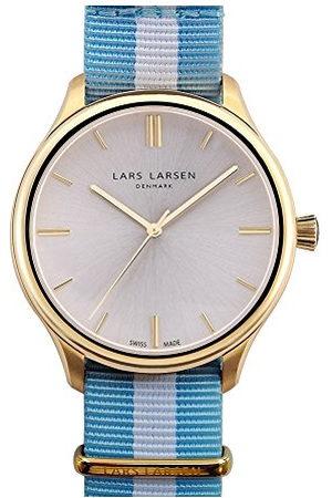 Lars Larsen Philip Quartz herenhorloge met zilveren wijzerplaat analoog display en meerkleurige stoffen band 120GBCN