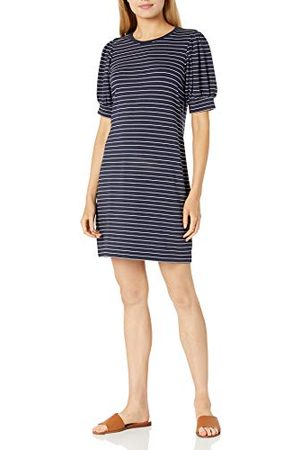 Daily Ritual Supersoft Terry Relaxed-fit Puff-mouwjurk, marine/witte streep, US (EU XS-S)