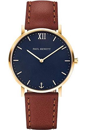 Paul Hewitt PH-SA-G-Sm-B-1M, unisex volwassene analoog kwarts smartwatch polshorloge met lederen armband