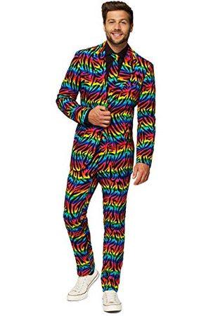 OppoSuits Crazy Prom voor heren, geschikt voor wilde regenboog, met jas, broek en das in grappige uitvoeringen, 46