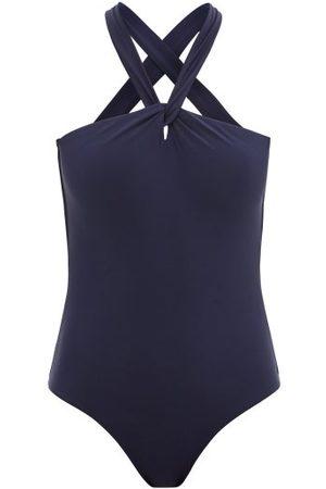 Casa Raki Eleonora Halterneck Recycled-fibre Swimsuit - Womens - Navy