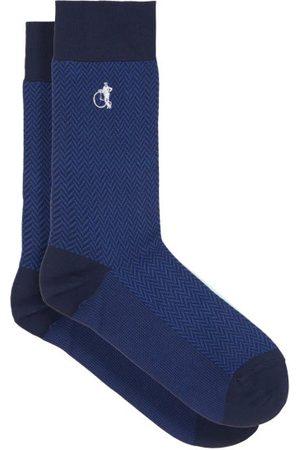 London Sock Company Bond St Herringbone Cotton-blend Socks - Mens - Blue Print