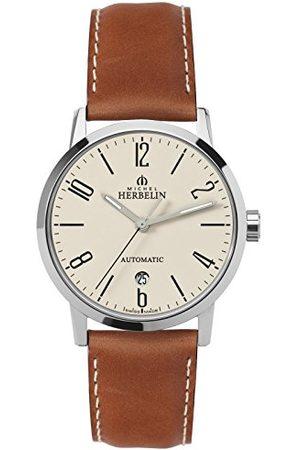 Michel Herbelin Unisex volwassen analoog horloge met lederen armband 1669/07GO