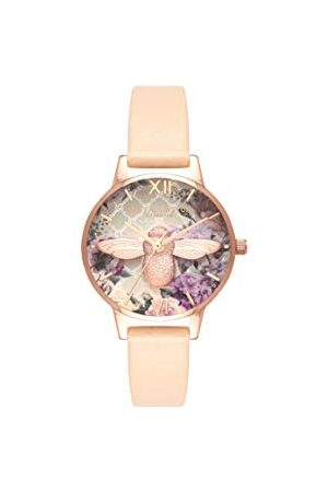 Olivia Burton Womens analoge Japanse Quartz horloge met lederen band OB16EG98, Perzik & Rose