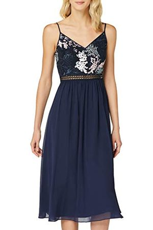 TRUTH & FABLE Amazon-merk - Midi-chiffon jurk voor dames, (Multi Spring Emb), 14, Label:L