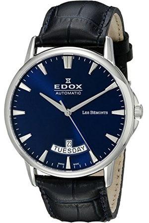 Edox Heren analoog automatisch horloge met lederen armband 83015-3-BUIN