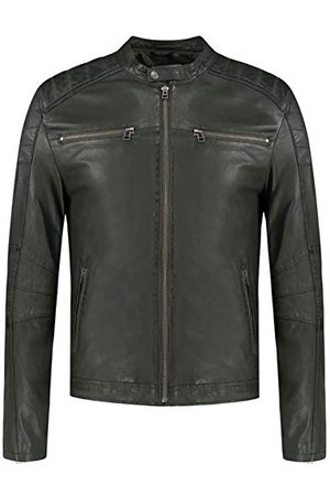 GOOSECRAFT Mens Jacket 965 Leather Jacket, Military Green, Extra Small