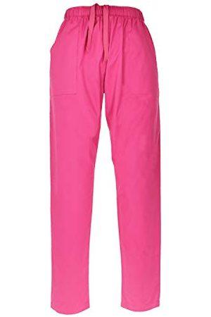MISEMIYA Sanitaire broek, elastische tailleband voor laboratorium, arts, verpleegsters, dierenartsen, gezondheid, hotelerie, korte werkruimtes, unisex volwassenen - Roze - XX-Large