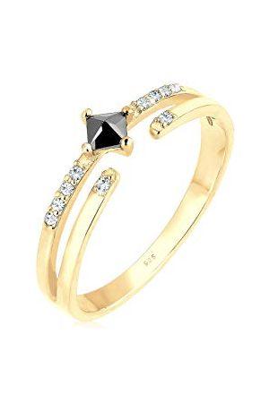 Elli Ringen Dames Geo met Zirkoniasteentjes met Kristal in 925 Sterling Zilver