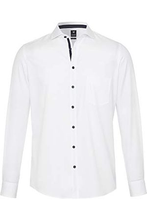 Pure Heren 3592-422 City Black Longsleeve Klassiek overhemd, Uni Middelblauw, L