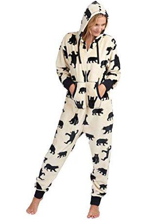 Hatley Dames Bear Family Fuzzy Fleece Hooded Jumpsuits pyjama Set