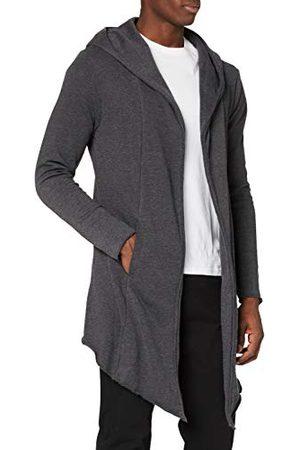 Urban classics Lange jas met capuchon voor heren, katoen, lange mouwen, vloeistof en asymmetrisch, oversize, 2 zijzakken, zwart, houtskool, bordeaux, maat XS - 5XL - - Large