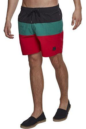 Urban Classics Heren zwembroek Color Block zwemshorts, zwemshorts voor mannen verkrijgbaar in vele kleurvarianten, maten S - XXL, meerkleurig (Firered/Black/Green 01318), XL