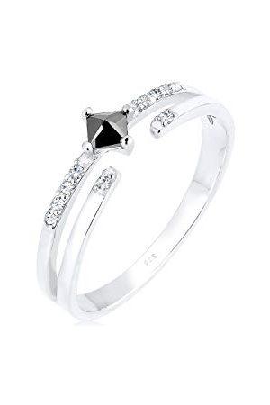 Elli Ringen Dames Geo met Zirkoniasteentjes met Kristal in 925 Sterling