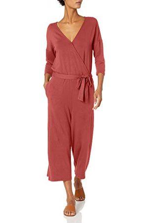 Daily Ritual Supersoft Terry Relaxed-fit Elleboogmouwen Overlap Jumpsuit Broek, Baksteen, 22-24
