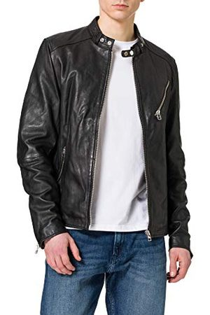 GOOSECRAFT Heren GC Belfast biker Leather Jacket, Black, M