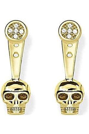 """Thomas Sabo D_H0014-924-39 Oorstekers voor dames, 1 paar""""Ear Jackets doodskop"""" met diamanten zilver verguld diamant (0,2 ct) wit"""