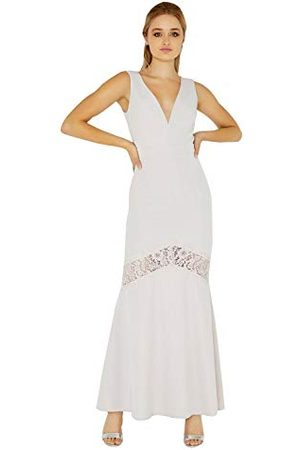 Little Mistress Dames Abbie Lilac Plunge Maxi Dress with Lace Insert Jurk