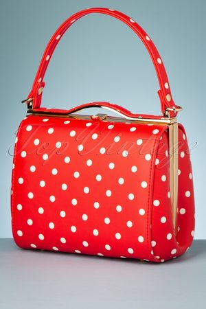 Collectif 60s Carrie Polka Dot Bag in Red