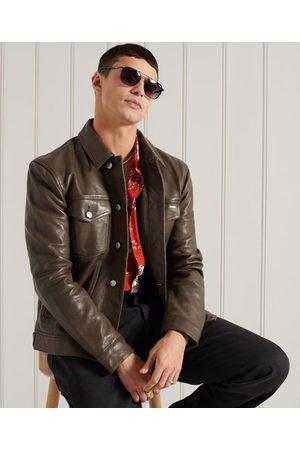 Superdry Leren Workwear Trucker jas