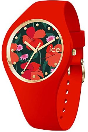 Ice-Watch ICE flower Floral passion - Rood dameshorloge met siliconen armband - 017576 (Maat S)