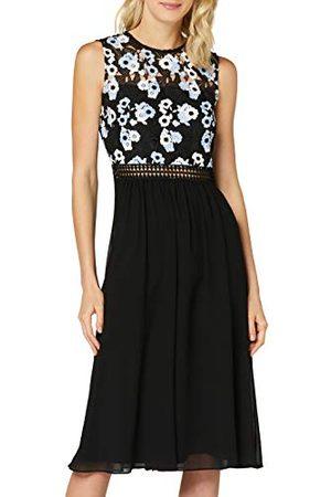 TRUTH & FABLE Amazon Brand - WAARHEID & FABEL Maxi Chiffon jurk voor dames, (Navy Graphic Lace),12